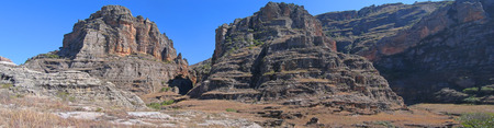 Rocky wild mountains - Isalo park - Madagascar - Panoramique. Stock Photo