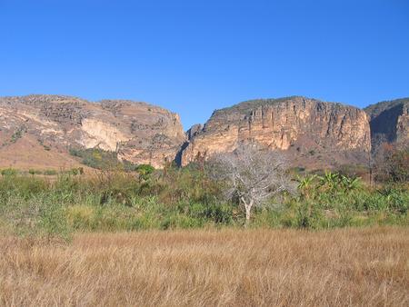 Savannah and mountains - Isalo park - Madagascar. Stock Photo