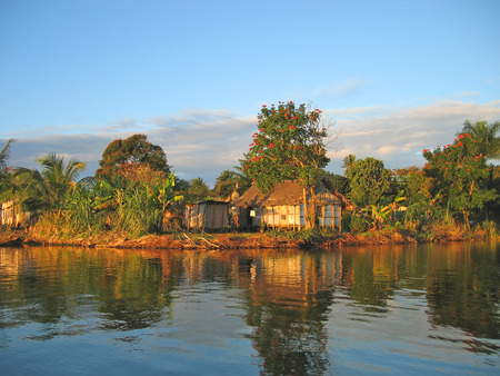 equatorial: Small nice fisherman village at sunset on the canal des Pangalanes - Madagascar.