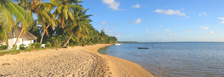 Tropical beach with palm trees - Nosy Boraha - Sainte-Marie island - Madagascar - Panoramique.