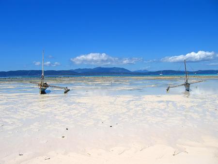 nosy: Two fisherman boats - Nosy Iranja - Nosy Be island - Madagascar.