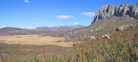 Valley with savannah and rocky wild mountains in the background - Andringitra park - Madagascar - Panoramique. photo
