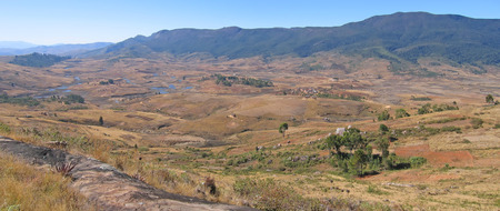 Very large view on the valley - Andringitra park - Madagascar - Panoramique. Stock Photo