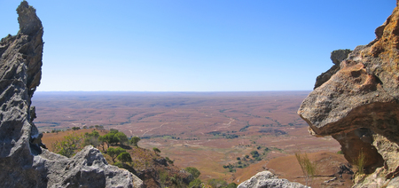 View of the valley between two moutain peaks - Isalo park - Madagascar - Panoramique. Stock Photo - 1677146