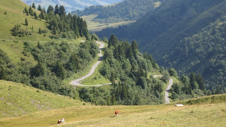 Mountain road in lace from the famous french Aravis pass - France - The Alps. Stock Photo - 7917051