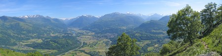 Scenic view from the Lourdes christian city famous for his pilgrimage from the Bibeste peak  - France - The Pyrenees - Panorama. Stock Photo