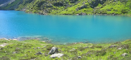 Detail of the Gloriettes lake and Estaube circus mountains - The Pyrenees - France - Panorama.