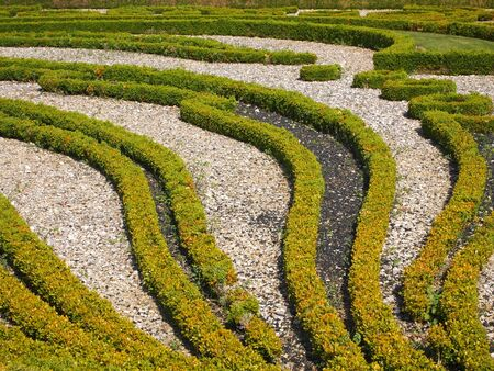 Details of a nice french garden - Champs sur Marne castle - France - Panorama. Stock Photo