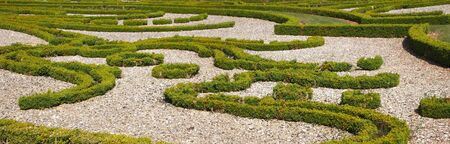 Panoramic view of a nice french garden - Champs sur Marne castle - France - Panorama.