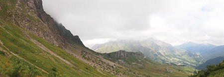 Panoramic view of the french mountains from the famous Aravis pass - France - The Alps - Panorama.