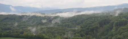 View of the land and forest with fog from the tower of the french Montrottier castle - France - The Alps - Panorama.