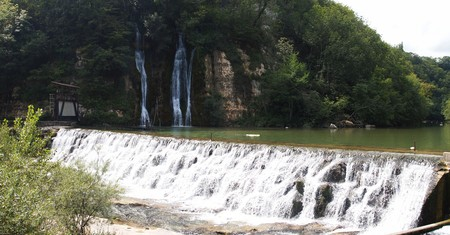 Waterfall from the famous place called les Pertes de la Valserine - France - The Alps - Panorama. Stock Photo