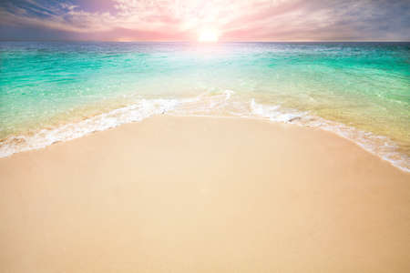 Sunrise on beach at Andaman sea Thailand photo