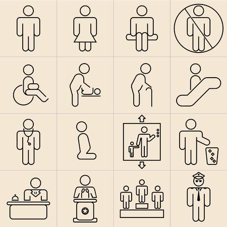 Exhibition Line Icons Set-01 Vector