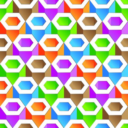Colorful hexagon pattern seamless wallpaper Vector