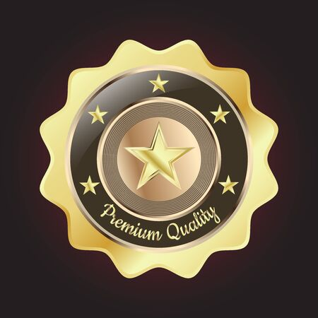 Golden Premium Quality Badge with stars and rope design Vector