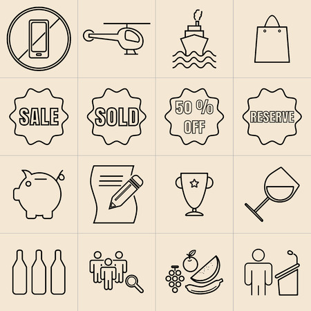Exhibition Line Icons Set05 Vector