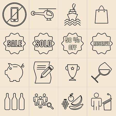 Exhibition Line Icons Set05 Vector
