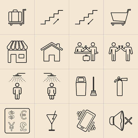 telephone booth: Exhibition Line Icons Set04 Illustration