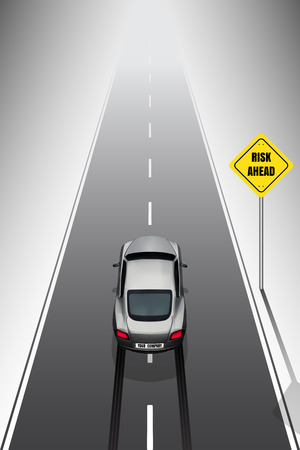 braking: Sport car your company car is braking when see the risk signs