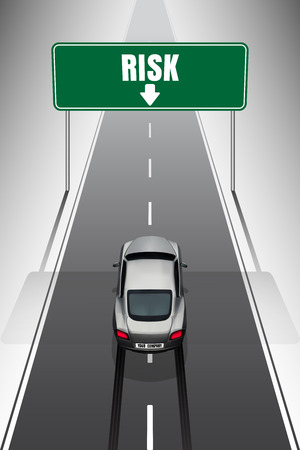straight path: Sport car your company car is braking when see the risk signs on top