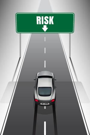 Sportwagen uw bedrijf auto remmen bij het zien van het risico tekenen op de top Stock Illustratie