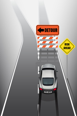 Sport car is braking when see detour signs