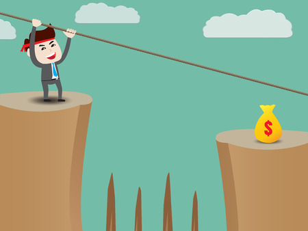 shortcuts: Businessman rope over cliff to money Illustration