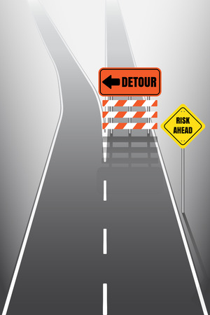 Road with detour signs Illustration