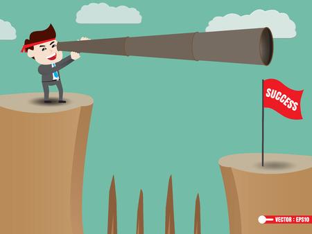 shortcuts: Businessman is looking beyond success Illustration