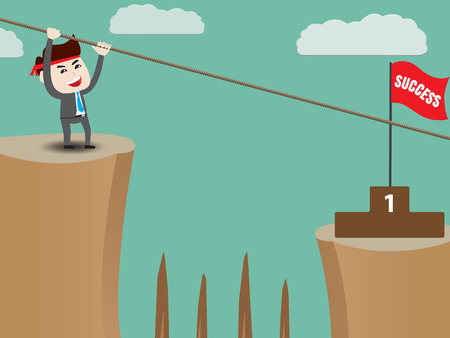 business opportunity: Businessman rope over cliff to podium Illustration