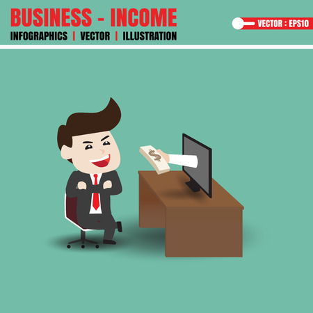 smacker: Businessman get money from monitor Illustration