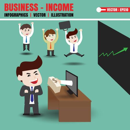 passive earnings: Businessman get money from monitor Illustration