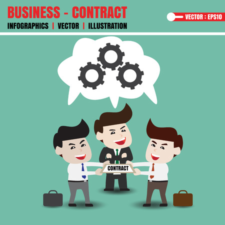 assent: Businessman joint reviews and contract Illustration