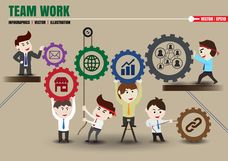 Components of teamwork leading to successful business, template Vettoriali
