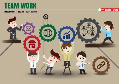 Onderdelen van teamwork leidt tot succesvolle zaken, sjabloon Stock Illustratie