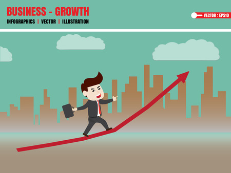 furtherance: Businessman walk on growth of progressive business