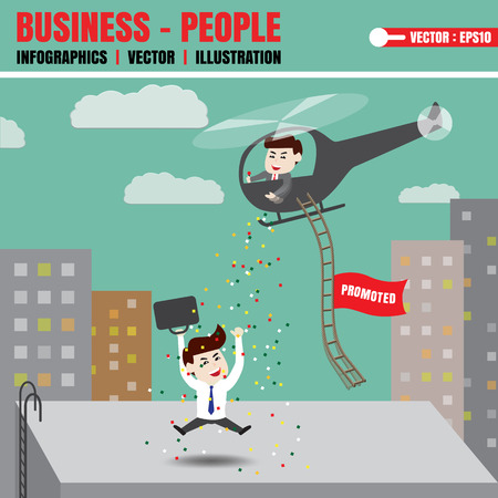 promoted: Employees are happy to be promoted Illustration