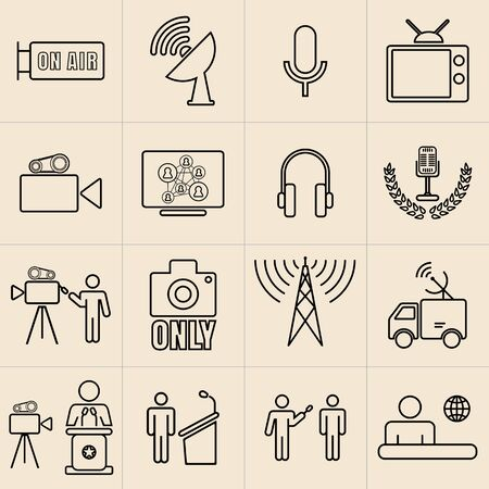 business exhibition: Exhibition Line Icons Set, BROADCASTERS