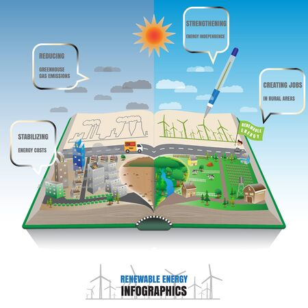 powerhouse: Renewable energy symmetry in book concept Illustration
