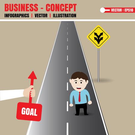 choose a path: Businessman get direction from helper