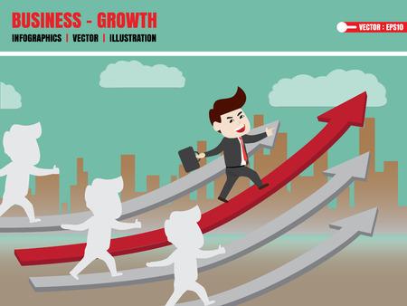 furtherance: Businessman walk on growth of progressive business