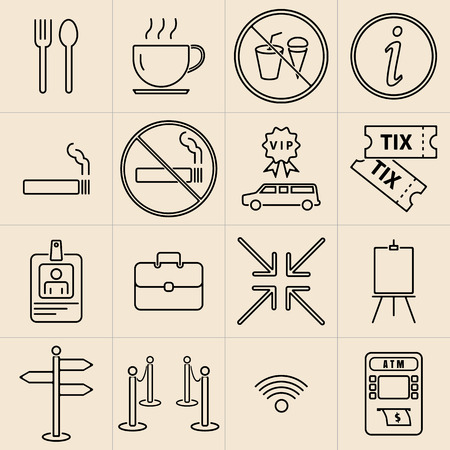 convocation: Exhibition line icons set Illustration