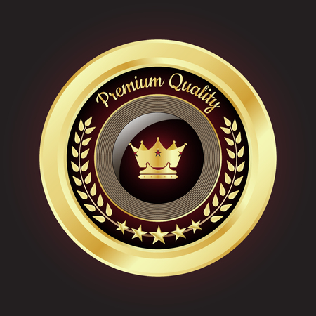 best quality: Golden Premium Quality Badge with stars and rope design