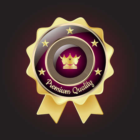 golden star: Golden Premium Quality Badge with stars and rope design