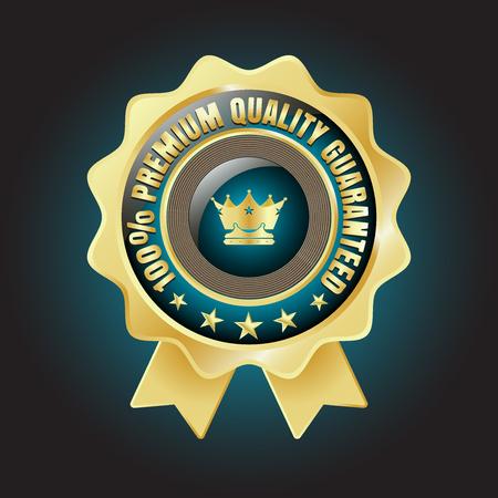 underwrite: Golden Premium Quality Badge with stars and rope design
