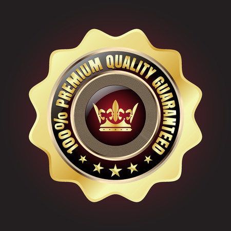 Golden Premium Quality Badge with stars and rope design