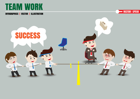 Tug of war, teamwork leading to successful business, template