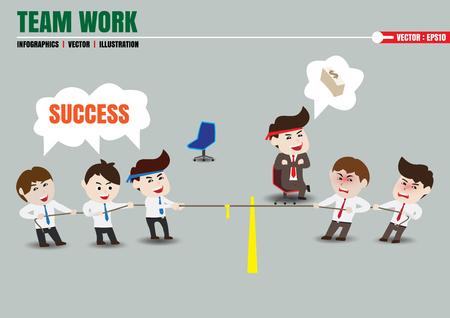 war: Tug of war, teamwork leading to successful business, template