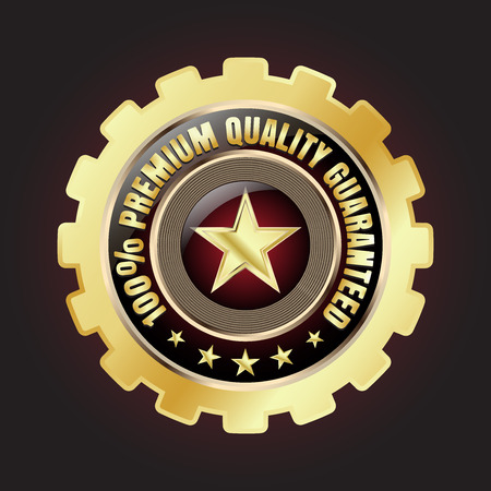 Golden premium quality badge with stars and gear design Illustration